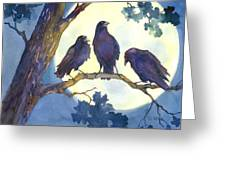 Crows In Moonlight Greeting Card