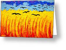 Crows Over Vincent's Field Greeting Card