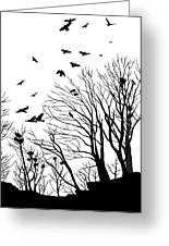Crows Roost 2 - Black And White Greeting Card