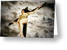 Crucified Woman In Upward View Greeting Card