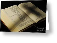 Crucifix Shadow On French Holy Bible Greeting Card
