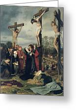 Crucifixion Greeting Card by Eduard Karl Franz von Gebhardt