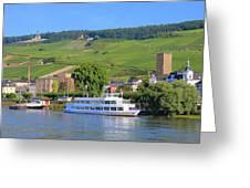 Cruise Boat, Rudesheim, Germany Greeting Card
