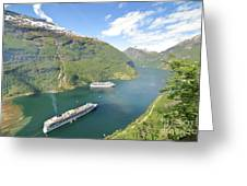 Cruise In Geiranger Fjord Norway Greeting Card