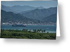 Cruise Ship Leaving Banderas Bay Puerto Vallarta Mexico With Sie Greeting Card