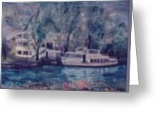 Cruiseboat On Rhine River Germany Greeting Card