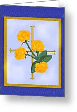 Crusader Cross And Four Gospel Roses Greeting Card