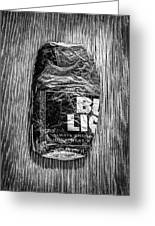 Crushed Blue Beer Can On Plywood 78 In Bw Greeting Card
