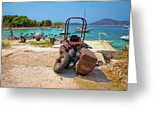 Crushed Tractor By The Sea On Island Prvic Greeting Card