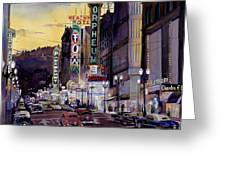 Crusin' Broadway In The Fifties Greeting Card by Mike Hill