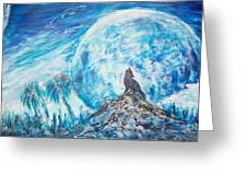 Crying Wolf Greeting Card by Mary Sedici