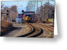 Csx Coming Towards Bound Brook Station Greeting Card