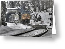 Csx Northbound At Mine Dock Road Highland Falls New York Greeting Card
