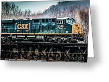 Cs X  Ge Engine 3046 On Trestle Greeting Card