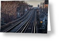 Cta Train Approaching Damen Avenue Station Chicago Illinois Greeting Card
