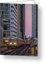 Cta Train On The L At Dusk Chicago Illinois Greeting Card