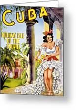 Cuba Holiday Isle Of The Tropics Vintage Poster Greeting Card