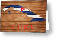 Cuba Rustic Map On Wood Greeting Card