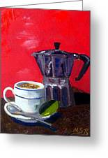 Cuban Coffee And Lime Red Greeting Card by Maria Soto Robbins