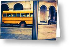 Cuban School Bus And Driver Greeting Card