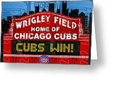 Cubs Win Wrigley Field Chicago Illinois Recycled Vintage License Plate Baseball Team Art Greeting Card