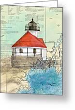 Cuckolds Lighthouse Me Nautical Chart Map Greeting Card