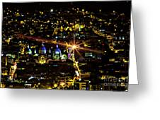 Cuenca's Historic District At Night Greeting Card