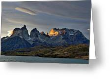 Cuernos Sunset Begins #4 - Patagonia Greeting Card