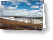 Cumulus Clouds Passing Across The Beach At Skegness Lincolnshire England Greeting Card