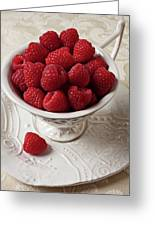 Cup Full Of Raspberries  Greeting Card
