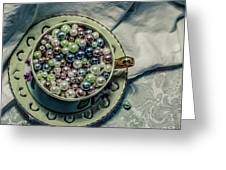 Cup Of Beads Greeting Card