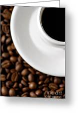 Cup Of Black Coffee On Coffee Beans Greeting Card