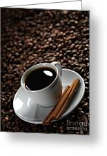 Cup Of Coffe On Coffee Beans Greeting Card