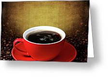 Cup Of Coffee On Grunge Textured Background Greeting Card