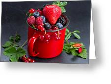 Cup Of Fresh Berries Greeting Card