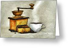 Cup Of The Hot Black Coffee Greeting Card