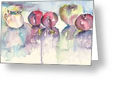 Cup Plums And A Green Apple Greeting Card