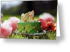 Cupcake With Green Icing And Happy St-pat's Day Written On It.  Greeting Card