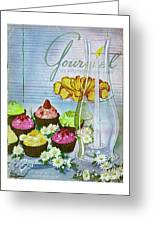 Cupcakes And Gaufrettes Beside A Candle Greeting Card