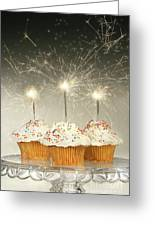 Cupcakes With Sparklers Greeting Card