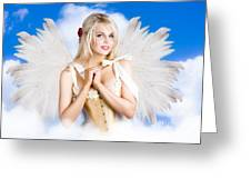 Cupid Angel Of Love Flying High With Fairy Wings Greeting Card
