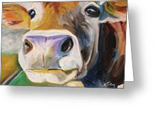 Curious Cow Greeting Card by Donna Tuten