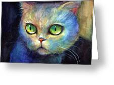 Curious Kitten Watercolor Painting  Greeting Card