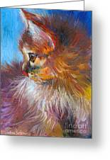 Curious Tubby Kitten Painting Greeting Card