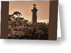 Currituck Beach Lighthouse - Sepia Greeting Card