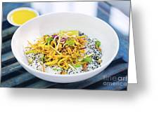 Curry Sauce Vegetable Salad With Noodles And Sesame Greeting Card