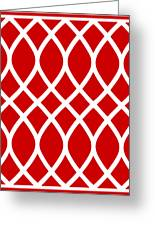 Curved Trellis With Border In Red Greeting Card
