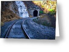 Curves On The Railways At The Entrance Of The Tunnel Greeting Card