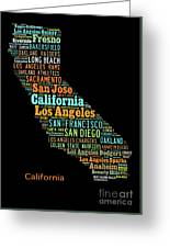Custom Silhouette Art Print, Pop Art California Map, Modern Style Country Map, Country Maps For Home Greeting Card