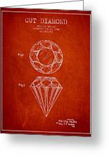 Cut Diamond Patent From 1873 - Red Greeting Card